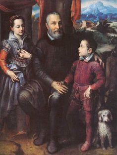 """Sofonisba Anguissola - """"Retrato familiar, Minerva, Amilcare y Asdrubale Anguissola"""", 1557"""