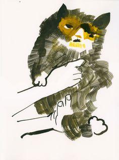 "Christoph Niemann ""Cat"" Ink on paper"