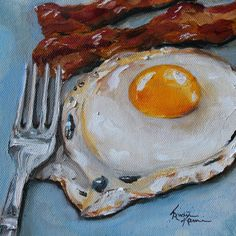 Bacon and Egg Breakfast ORIGINAL Oil Painting by KristineKainer