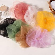 Sheer transparent organza chiffon hair scrunchies, perfect for your hair! - Online Store Powered by Storenvy Diy Hair Scrunchies, Create Kids Couture, Sewing Projects, Projects To Try, Accesorios Casual, Diy Hair Accessories, Free Sewing, Hair Ties, Boutique Hair Bows