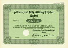 HWPH AG - Historische Wertpapiere - Hofbrauhaus Hatz AG Rastatt Rastatt, August 1950, Blankett einer Aktie über 1.000 DM