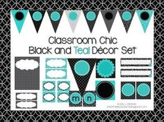 Classroom Decor Set~ EDITABLE~Black and Teal  from Creative Lesson Cafe on TeachersNotebook.com (83 pages)