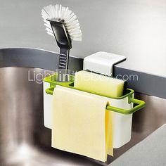 Traditional Interdesign Creative Hanging Storage Drain Suction Basket Kitchenaid Tools Gadget Rack Brush Holder for Sink Organizer Great for Kitchen and Bathroom, ,