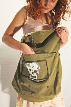 Army Green Messenger Bag with Lace and Skull Patch