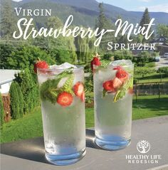 Virgin Strawberry-Mint Spritzer - Healthy Life Redesign Strawberry Mint Spritzer This Strawberry-Mint Spritzer is a deliously refreshing non-alcoholic drink that's sure to help you get your healthy summer habits back on track! Non Alcoholic Cocktails, Drinks Alcohol Recipes, Easy Mocktails, Alcoholic Shots, Fall Cocktails, Refreshing Drinks, Summer Drinks, Spritzer Drink, Fresco