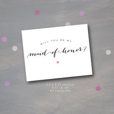 Will you be My Maid of Honor? A note from the bride, bridal stationary, instant download, Fits an A2 envelope, printable bridal notecards, by PumpkinPiDesign on Etsy