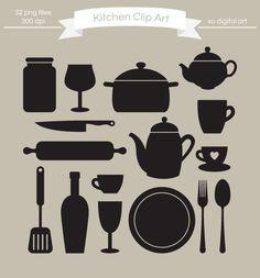 Digital Kitchen clip art, Kitchenware Silhouette clip art, clipart, stationary, card design. $4.00, via Etsy.