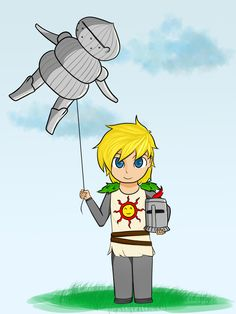 Baby Solaire of Astora and his ballon, Siegmeyer of Catarina, finished! Lol, I really suck with background D: