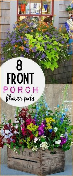 Flower pots for your front porch. Perfectly potted plants to bring color to your home. Tips and tricks to keeping plants thriving all season long. #ContainerGarden