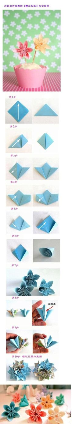 DIY on paper flowers. Pin is in Chinese but it is all step by step as you can see. These are so cool. Fun project for Spring!