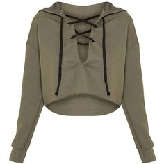 Saige Khaki Lace Up Cropped Hoodie (9.10 AUD) ❤ liked on Polyvore featuring tops, hoodies, lace up hooded sweatshirt, lace up front top, khaki hoodie, brown hoodies and cropped hooded sweatshirt