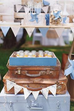LoOK to this Vintage Travel Party for loads of birthday planning inspiration. Kara's Party Ideas is always on-point. Baptism Themes, Baptism Decorations, Baptism Ideas, Grad Parties, Birthday Parties, Vintage Baptism, Baby Boy Baptism, Travel Party, Travel Themes