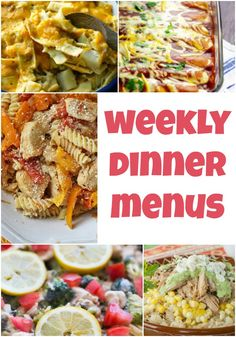We are back with more Weekly Dinner Menus all in hopes of making your life just a little bit easier. You'll find a wide variety of dinner ideas!