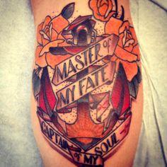 Brendan Rowe - Memoir Tattoo.         Los Angeles, CA.    Neo Traditional. Tattoo. Anchor. Banner. Lettering. Roses.