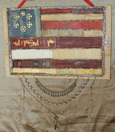 Ornate Splendor: Book Spine Flag USA