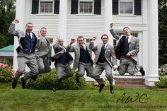 Groomsmen, jumping for joy! Jumping For Joy, Newlyweds, Wedding Pictures, Groomsmen, Wedding Photography, Romantic, Creative, Inspiration, Biblical Inspiration