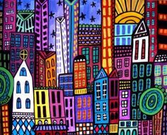 New York City Art Print Poster of Painting by HeatherGallerArt- Use for Line lesson inspiration, 1st grade