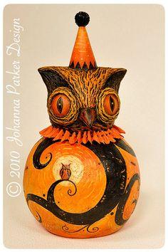 Spooky-Cornowleus by Johanna Parker Design Halloween Gourds, Halloween Owl, Retro Halloween, Halloween Images, Holidays Halloween, Halloween Crafts, Happy Halloween, Beistle Halloween, Vintage Halloween Decorations