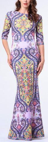 Abstract-Paisley Print Long Dress
