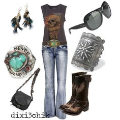 love the shirt & jeans...minus the ginormous belt buckle...the jewelry is cute oo