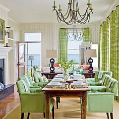 Beach Cottages| CoastalLiving.com/ love the green!