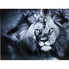 Tableau En Verre Lion King Kare Design - Taille : 120 x 120 cm Kare Design, Gun Powder Art, Animal Lamp, Crown Art, Lion, Wall Art Designs, Animal Paintings, Pet Portraits, Black And White
