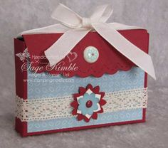 I think the Scallop Envelope Die is too stinkin' cute!  And I love figuring out new ways to use it.  This Scallop Envelope Box is the perfect size to hold two Ghirardelli Chocolate Squares, or a small Mother's Day gift.  I used Cherry Cobbler Card Stock and the Baja Breeze Twitterpated Designer Series Paper.  The three-layered flower is made with the Boho Blossoms Punch, and Victoria Crochet Trim adds a nice touch. www.stampingmadly.com
