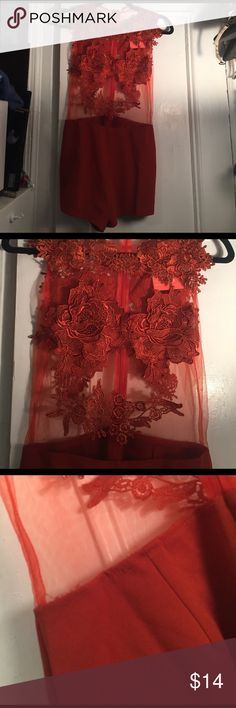 Nwt orange romper mesh top roses and lace rust Rust colored jumpsuit nwt but stitching is strange in two places photos shown (on the back) does not affect the product NO HOLES. I'd throw a skirt over it anyway so it's never show. Not Bebe brand bebe Pants Jumpsuits & Rompers