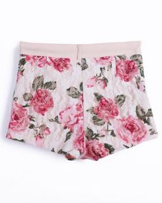 White Floral Lace Straight Shorts