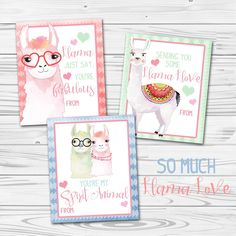 Llots of llama llove. Who'd have ever thought that llamas would be a thing? But aren't these just the cutest hipster llama valentine cards you've ever seen (maybe the only llama valentine cards you've ever seen, but cute nonetheless).