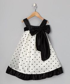 a look at this Black Polka Dot Bow Dress - Toddler & Girls by Kid's Dream on today!Take a look at this Black Polka Dot Bow Dress - Toddler & Girls by Kid's Dream on today! Fashion Kids, Baby Girl Fashion, Toddler Girl Dresses, Toddler Outfits, Kids Outfits, Toddler Girls, Little Girl Dresses, Girls Dresses, 50s Dresses