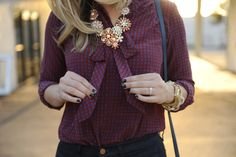 maroon tie shirt