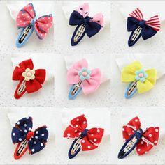 Discount handmade girls barrettes 9 color dot barrettes hair accessories for girls handmade bowknot hair clips