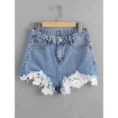 Contrast Crochet Frayed Hem Denim Shorts (40 BRL) ❤ liked on Polyvore featuring shorts, blue, denim short shorts, macrame shorts, denim shorts, blue jean shorts and crochet shorts