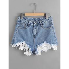 Contrast Crochet Frayed Hem Denim Shorts (40 BRL) ❤ liked on Polyvore featuring shorts, blue, denim short shorts, macrame shorts, denim shorts, blue jean shorts and crochet shorts