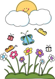 Spring Clip Art Borders | Spring Sun Clip Art Image - cute sun peeking over clouds overlooking a ...