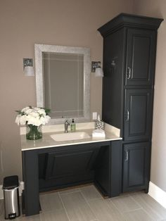 Accessible Vanity Painted Bm Wrought Iron Walls Sw Sticks pertaining to measurements 3024 X 4032 Handicap Accessible Bathroom Sinks - Bathroom sinks come Ada Bathroom, Handicap Bathroom, Modern Bathroom Sink, Bathroom Sink Vanity, Bathroom Renos, Bathroom Renovations, Small Bathroom, Disabled Bathroom, White Bathroom Cabinets