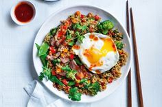 Curtis Stone's stir-fried rice with steak and vegetables Stir Fry Rice, Fussy Eaters, Rice Dishes, Dinner Tonight, Vegetable Recipes, Fried Rice, Family Meals, Steak, Clean Eating