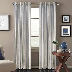 The attractive Regatta Stripe Window Curtain Panel features a special, metallic ink and classic, striped design. The panel quickly brings a touch of style to your room and matches with a variety of decors.