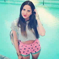 Justine in the Lazy Oaf x Nasty Gal Watermelon Denim Shorts || Get the shorts: http://www.nastygal.com/clothes/lazy-oaf-watermelon-denim-shorts?utm_source=pinterest&utm_medium=smm&utm_term=ngdib&utm_content=nasty_gals_do_it_better&utm_campaign=pinterest_nastygal