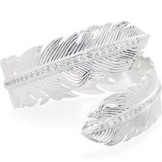 Nina Feather Wrap Cuff Silver / White
