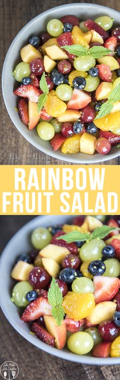 Rainbow Fruit Salad - This colorful and delicious rainbow fruit salad is coated in a sweet honey lime glaze for the perfect side dish, or perfect to take to a summer potluck!