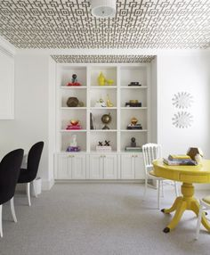 Ceiling and bookcase details for an office space