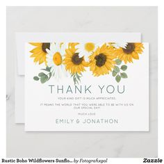 Rustic Boho Wildflowers Sunflowers Photo Thank You #sunflowers #wedding #thankyou Photo Thank You Cards, Wedding Thank You Cards, Wildflowers, Sunflowers, Instagram Grid, Website Design Inspiration, Happy Anniversary, Rustic Design, Special Day