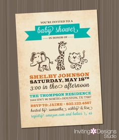 Safari Baby Shower Invitation Jungle by InvitingDesignStudio, $18.00