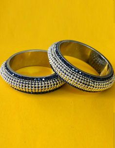 #Bangles, #Bracelets & #Kadas - Blue & Silver Stone Studded Bangles Costs Rs. 770. #Jewellery. BUY it here: http://www.artisangilt.com/jewellery/bangles-bracelets-kadas/blue-silver-stone-studded-bangles-26562.html?ref=pin
