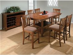Jofran 7 Piece School House Counter Height Dining Set in Saddle Brown Oak - - Lowest price online on all Jofran 7 Piece School House Counter Height Dining Set in Saddle Brown Oak - Counter Height Table Sets, Pub Table Sets, Table And Chairs, Dining Chairs, Dining Area, Tall Table, Dining Rooms, Butterfly Leaf Table, Patio Bar Set