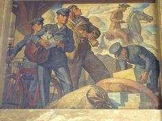 """One of 3 New Deal murals entitled """"Stagecoach and Modern Transportation"""" painted in 1936 by Robert L. Works Progress Administration, Office Mural, Mural Painting, Post Office, Public Art, American Artists, Art World, Illustration Art, Illustrations"""