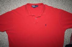 Ralph Lauren red polo shirt XXL 2XL 2X cotton SS solid mens choice men man 2-btn #RalphLauren #PoloRugby
