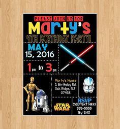Digital FilePrinted Filebirthday star wars invitationstar